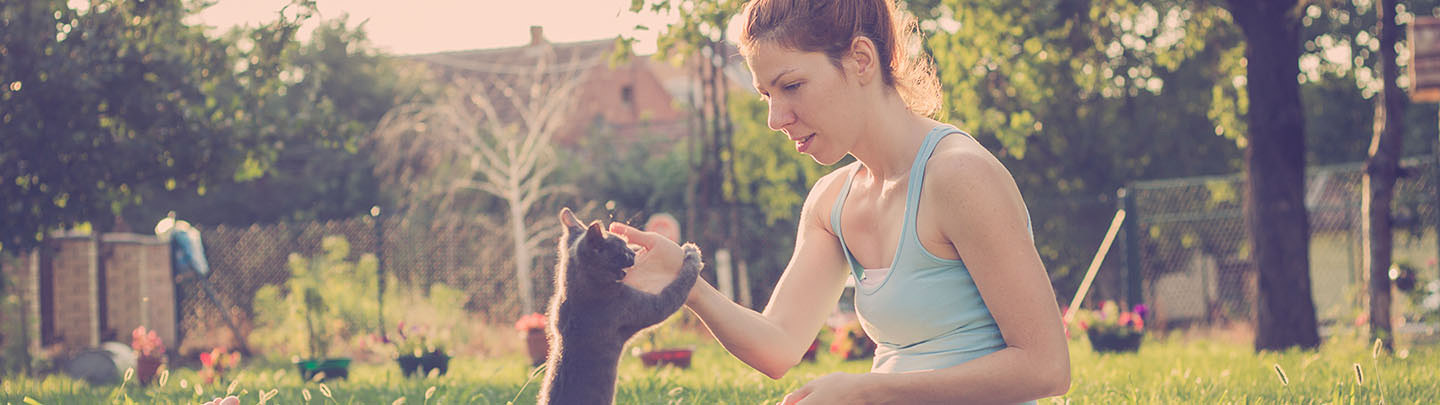 VCA Preventive Care Picture of Woman Playing with a Cat Outdoors
