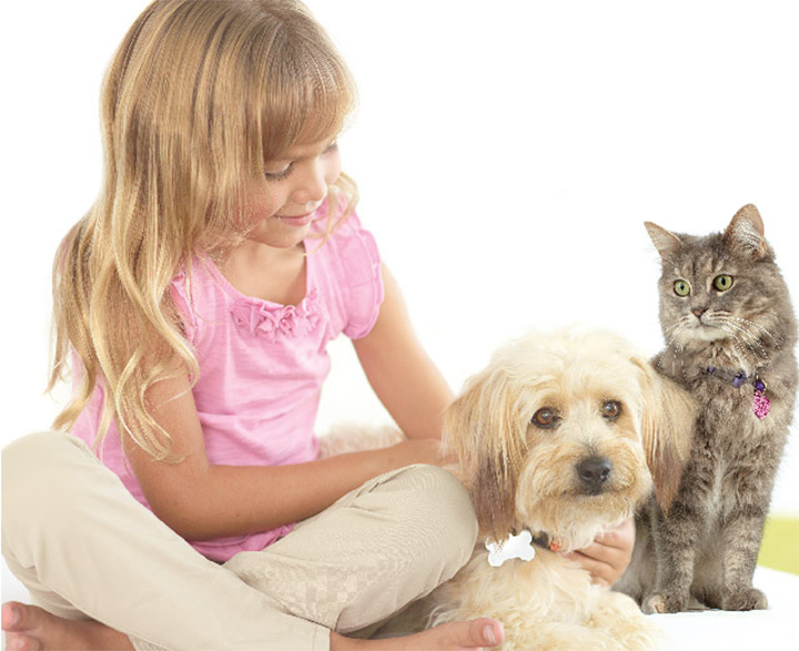 VCA CareClub Picture of Girl with Dog and Cat
