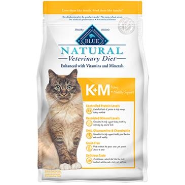BLUE Natural Veterinary Diet® K+M Kidney + Mobility Support For Cats - Dry