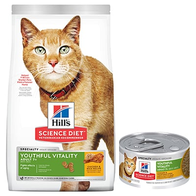 Hill's® Science Diet® Youthful Vitality Adult 7+ Chicken & Rice Recipe Cat Food - Dry